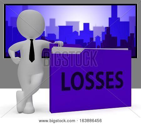 Losses Folder Representing Expenses File 3D Rendering