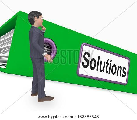 Solutions Folder Indicates Business Administration 3D Rendering