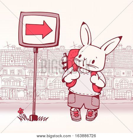 Hand-drawn illustration of funny cartoon Bunny-tourist in the city. Vector