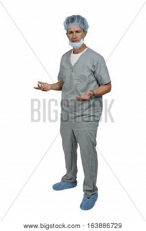 Handsome young man doctor wearing his scrubs