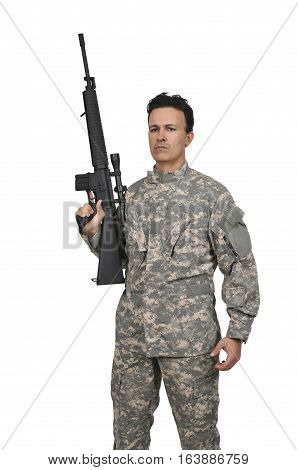 Handsome young man soldier with a rifle
