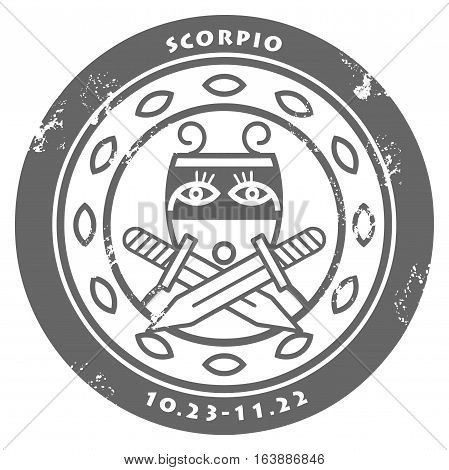 Grunge rubber stamp - sign of the zodiac Scorpio, vector illustration