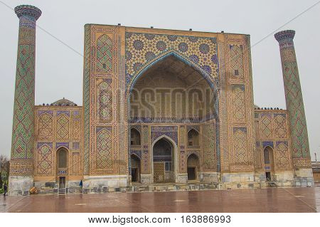Ulugh Beg Madrasah on Registan square Samarkand Uzbekistan 2016
