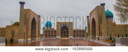 Panorama Registan Square with three madrasahs in Samarkand 2016