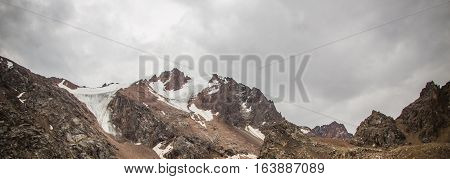 Panoramic View Behind Talgar Pass In Tien Shan Mountains. Peaks With Glaciers, Almaty, Kazakhstan