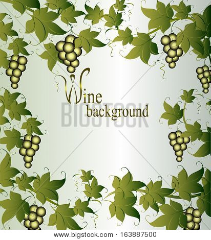 Vignette with vine and berries. EPS10 vector illustration