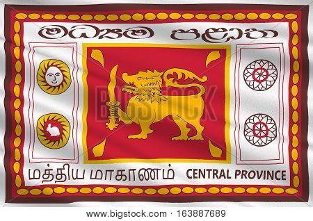 Flag of Central Province is one of the nine provinces of Sri Lanka. 3d illustration
