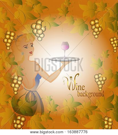 Vignette with grapevine, berries and a waitress with a blonde on a beige background. EPS10 vector illustration.