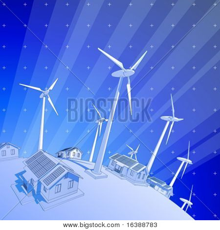 ecology concept: wind-driven generators & houses with solar power systems