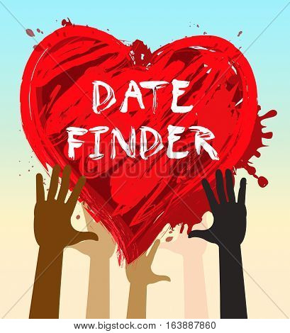 Date Finder Indicates Search For Love 3D Illustration