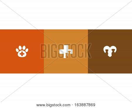 veterinary care symbols with pet silhouettes and heart