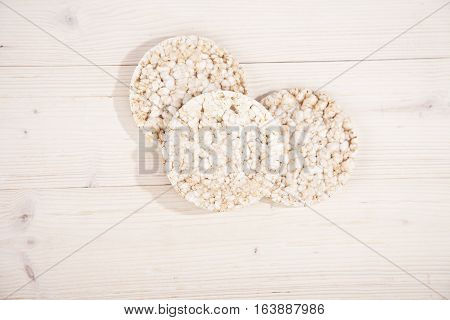 White rice waffles on a wooden background
