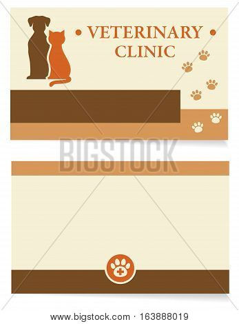 veterinary clinic business card with pet silhouettes