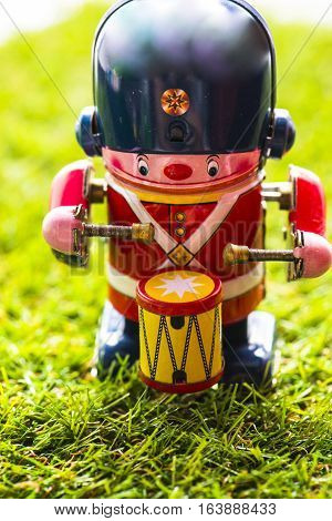Old tin classic toy drummer, Vintage Wind Up Mechanical Soldier Drummer Clockwork Tin Toy