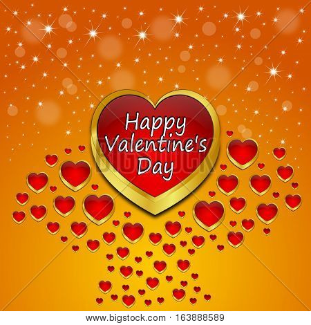 Valentine's Day Greeting card with many hearts on orange background- 3d illustration