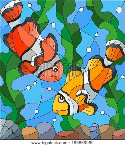 Illustration in stained glass style with a pair of clown fish on the background of water and algae