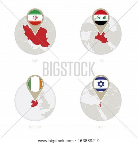Iran, Iraq, Ireland, Israel Map And Flag In Circle.