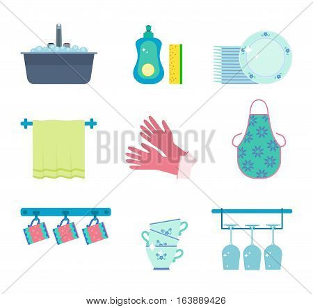 Dishwashing elements: kitchen sink with tap and foam dishwashing detergent and sponge pile of clean plates dish towel household gloves apron coffee and tea cups holder pile of cups wineglass holder.