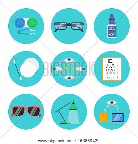 Eye health and hygiene vector set: contact lenses container soft tweezers eyeglasses drops make-up removal pads and stick eye exercise test chart sunglasses lamp right reading and computer distance.