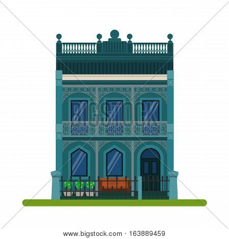 Filigree style or Australian Terraced house. Vector illustration of a tourist house for rent sale booking and living isolated on white background.