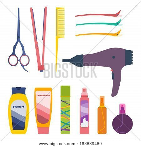 Vector set of hairdresser professional tools and hair care products: scissors tail comb flat iron hair setting clips hairdryer shampoo conditioner fixing spray hair-styling mousse oil protection spray.