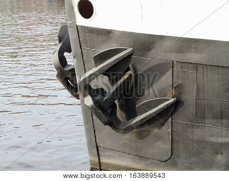 Detail of the big iron anchor of the riverboat