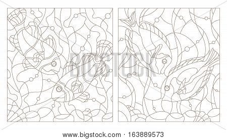 Set contour illustrations of stained glass with aquarium fishfish surgery and fish clowns