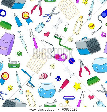 Seamless background on the topic of pet care pet shop simple colored icons on a light background