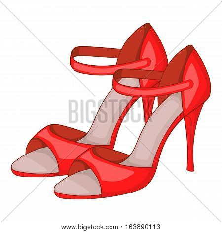 Red woman tango high heels icon. Cartoon illustration of red woman tango high heels vector icon for web