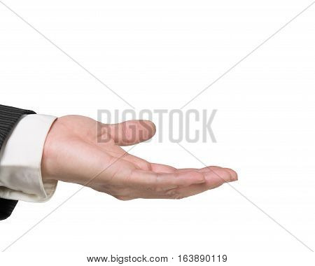 Open man's hand with palm up isolated on white background.