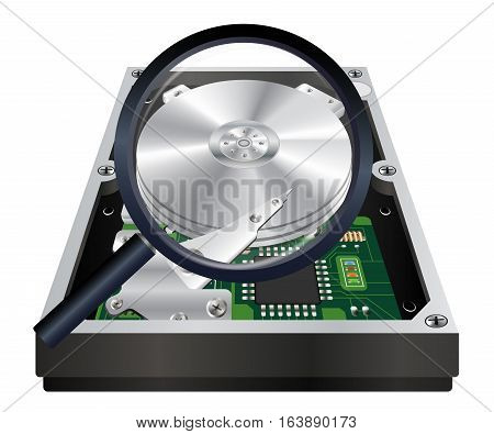 inside of internal harddisk with a magnifying glass scanning