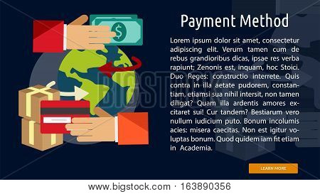 Payment Method Conceptual Banner | Great flat illustration concept icon and use for business, marketing, working, idea, event and much more.