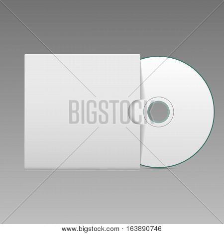 Blank White Compact Disk With Cover Mock Up Template Vector Illustration Eps 10
