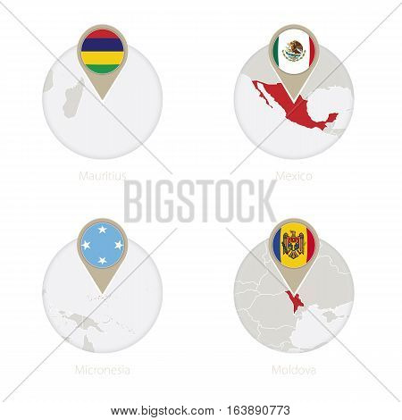 Mauritius, Mexico, Micronesia, Moldova Map And Flag In Circle.