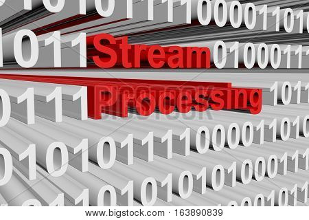Stream processing in a binary code 3D illustration
