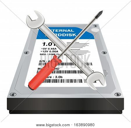 internal harddisk with a wrench and screwdriver repair logo