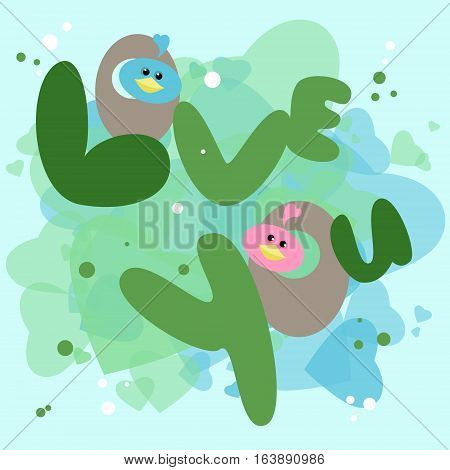 Postcard on Valentine's Day love you. Birds in the nest. Vector cartoon