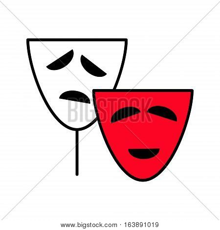 Comedy and tragedy theater masks icon. Vector Linear flat