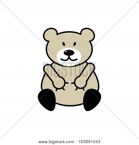 Teddy Bear plush toy icon for applications and web sites linear flat