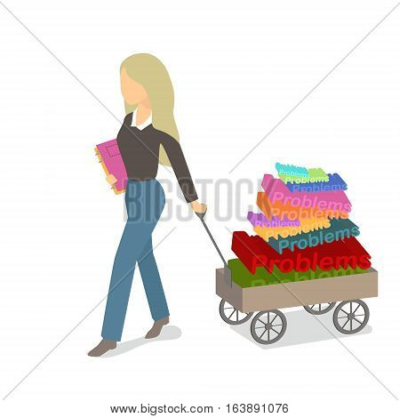 She carries different problems in the cart. Load problems. Vector flat