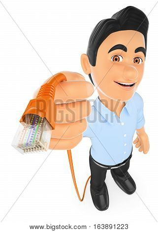 3d working people illustration. Information technology technician connecting a ethernet network cable. Isolated white background.