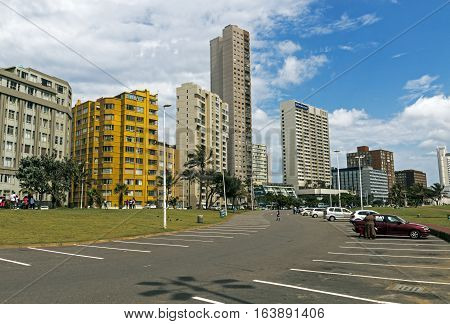 Parking Lot Against Golden Mile City Skyline In Durban