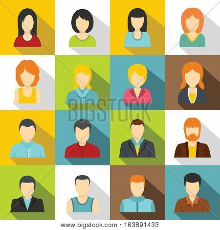Various people icons set. Flat illustration of 16 various people vector icons for web