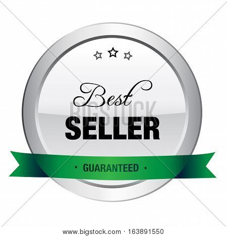Best seller seal or icon. Silver seal or button with stars and green color.
