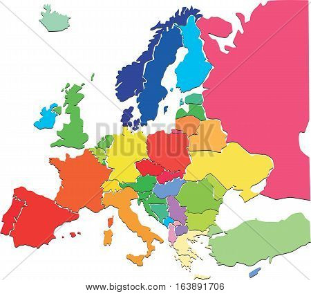 Colorful political map of Europe, vector illustration