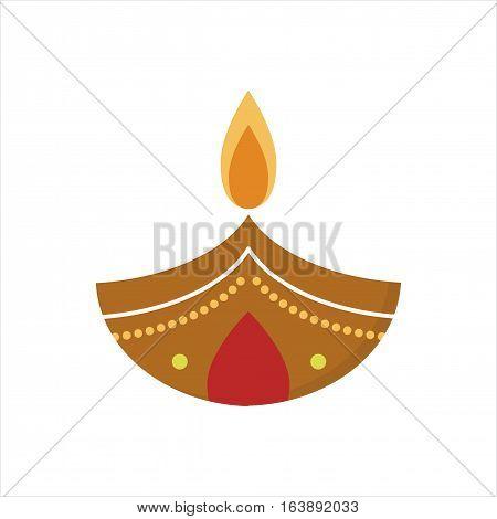 Vector illustration traditional celebration happy diwali candle. Festival lamp celebration decoration. Traditional hindu religious culture spiritual symbol.