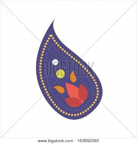 Turkish paisley cucumber mandala design. Indian cucumber decorative pattern handmade. Vector symbol with ornament vintage ethnic print petal textile.