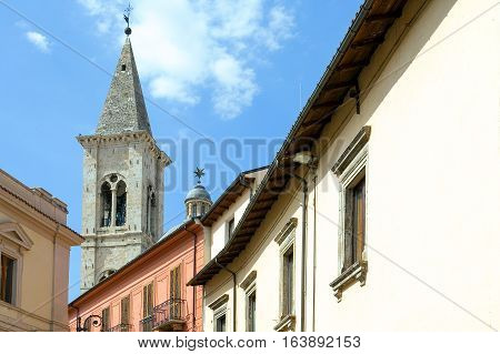 Italy Sulmona the bell tower of the Annunziata church seen from XX Settembre square