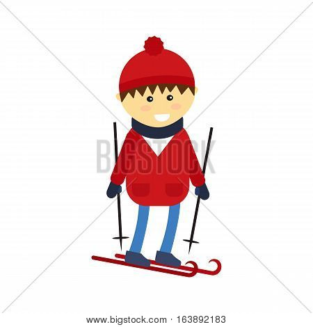 Christmas boy playing winter game happy leisure vector illustration. Cartoon new year holidays funny lifestyle. Skiing down person extreme outdoor recreation.