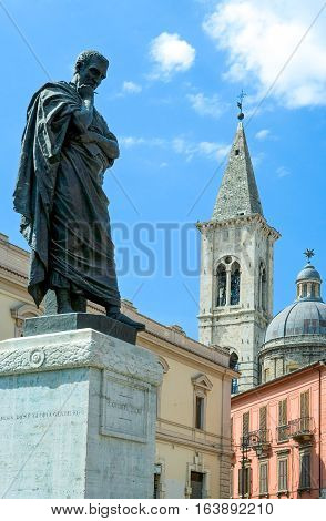 Italy Sulmona a typical view of the Ovidius Naso monument in XX Settembre square with the bell tower in the background